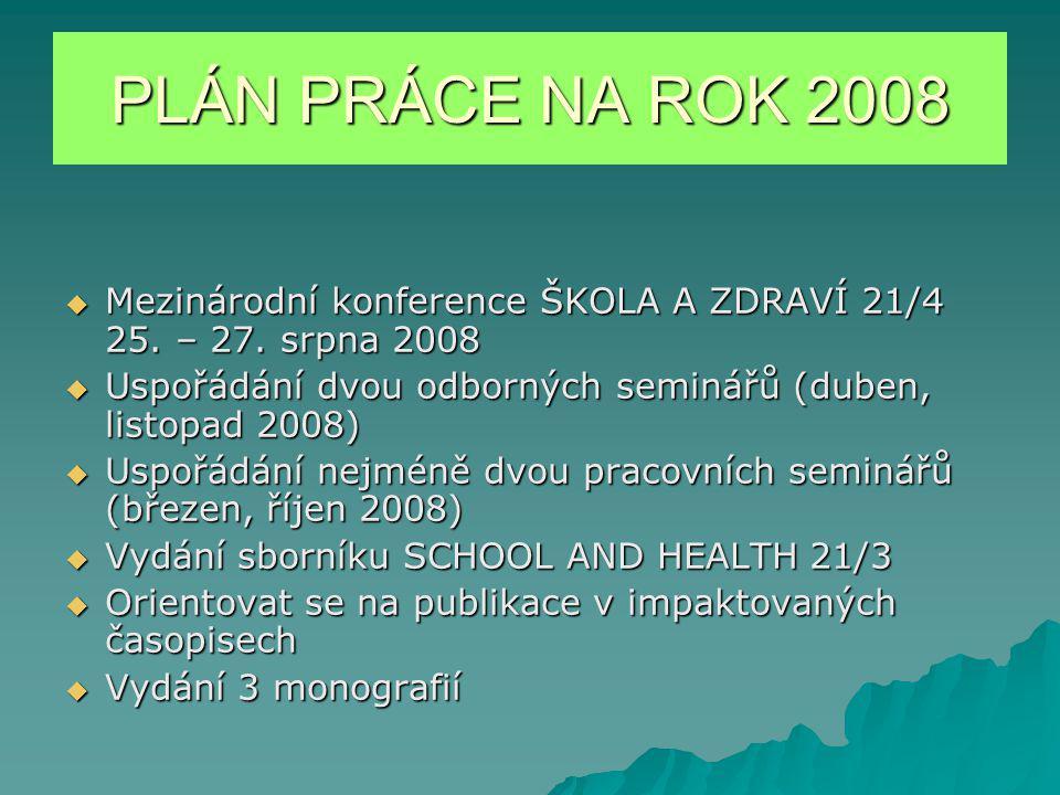 PLÁN PRÁCE NA ROK 2008  Mezinárodní konference ŠKOLA A ZDRAVÍ 21/4 25.