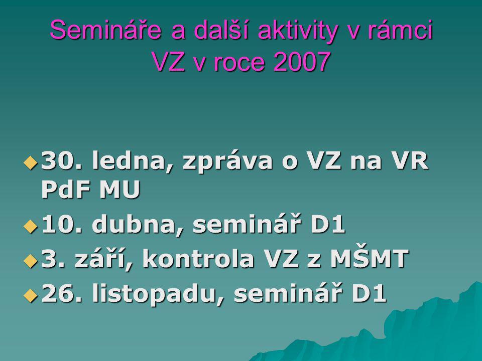 Semináře a další aktivity v rámci VZ v roce 2007  30.