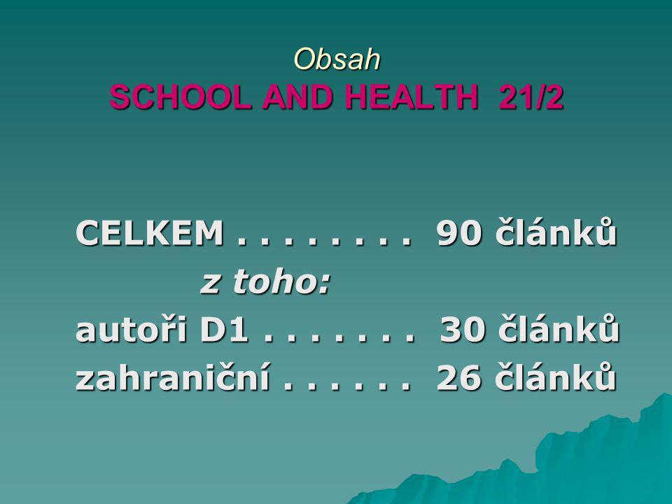 Obsah SCHOOL AND HEALTH 21/2 CELKEM........ 90 článků CELKEM........