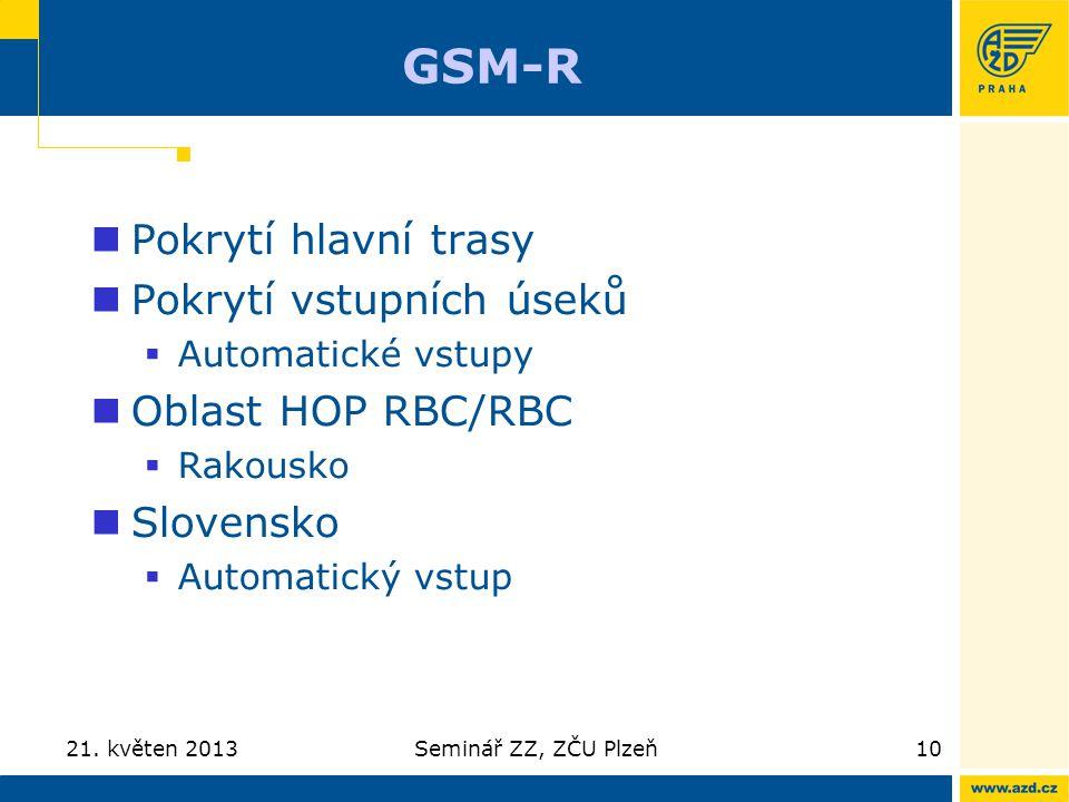 GSM-R Pokrytí hlavní trasy Pokrytí vstupních úseků  Automatické vstupy Oblast HOP RBC/RBC  Rakousko Slovensko  Automatický vstup 21. květen 2013Sem