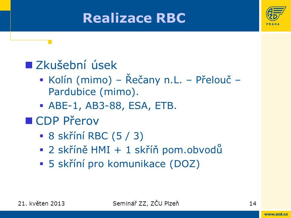 Realizace RBC Zkušební úsek  Kolín (mimo) – Řečany n.L. – Přelouč – Pardubice (mimo).  ABE-1, AB3-88, ESA, ETB. CDP Přerov  8 skříní RBC (5 / 3) 