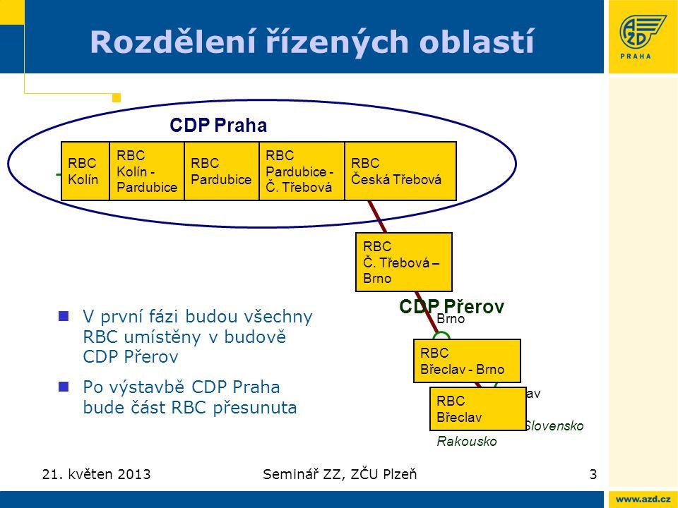 Rozdělení řízených oblastí 21. květen 2013Seminář ZZ, ZČU Plzeň3 V první fázi budou všechny RBC umístěny v budově CDP Přerov Po výstavbě CDP Praha bud