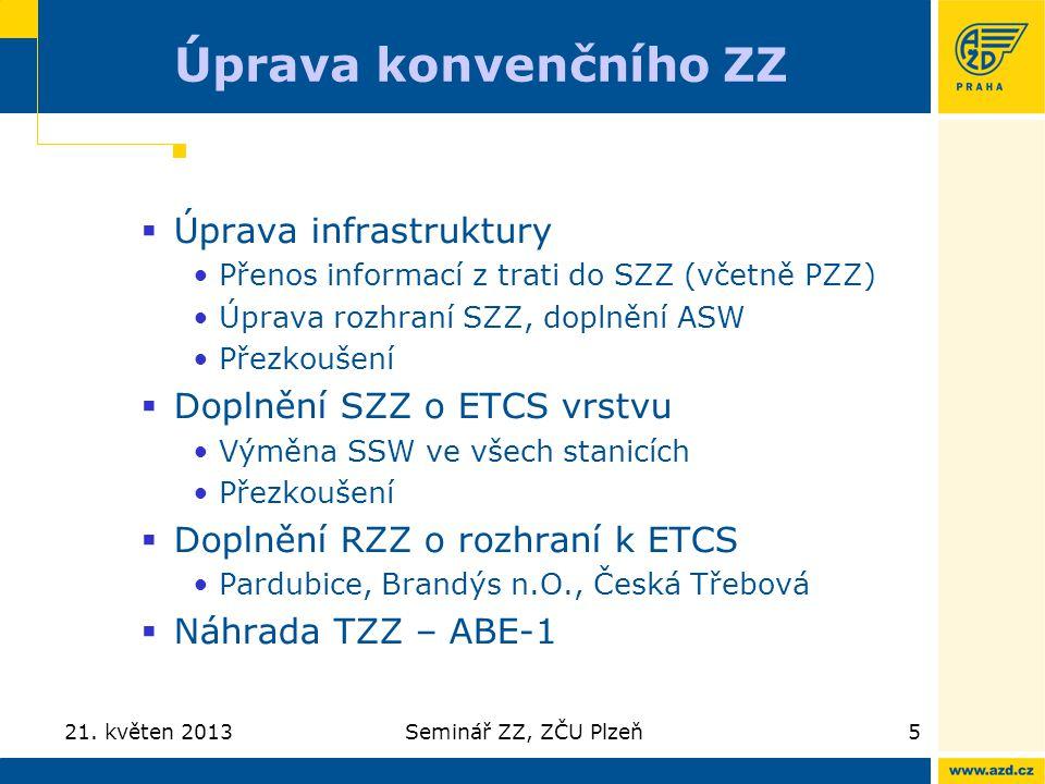 Úprava konvenčního ZZ  Úprava infrastruktury Přenos informací z trati do SZZ (včetně PZZ) Úprava rozhraní SZZ, doplnění ASW Přezkoušení  Doplnění SZ