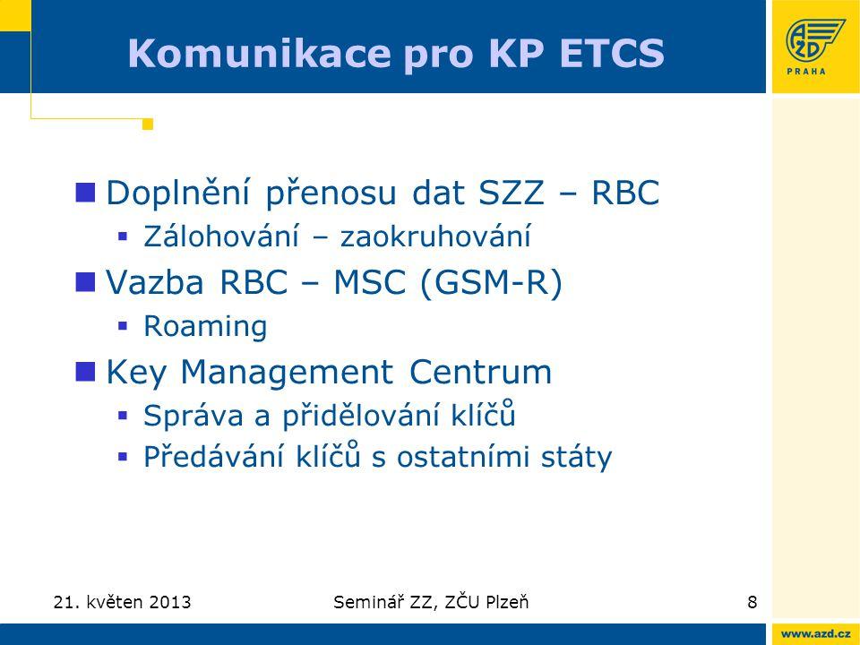 Komunikace pro KP ETCS Doplnění přenosu dat SZZ – RBC  Zálohování – zaokruhování Vazba RBC – MSC (GSM-R)  Roaming Key Management Centrum  Správa a