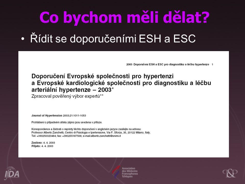 Co bychom měli dělat? Řídit se doporučeními ESH a ESC