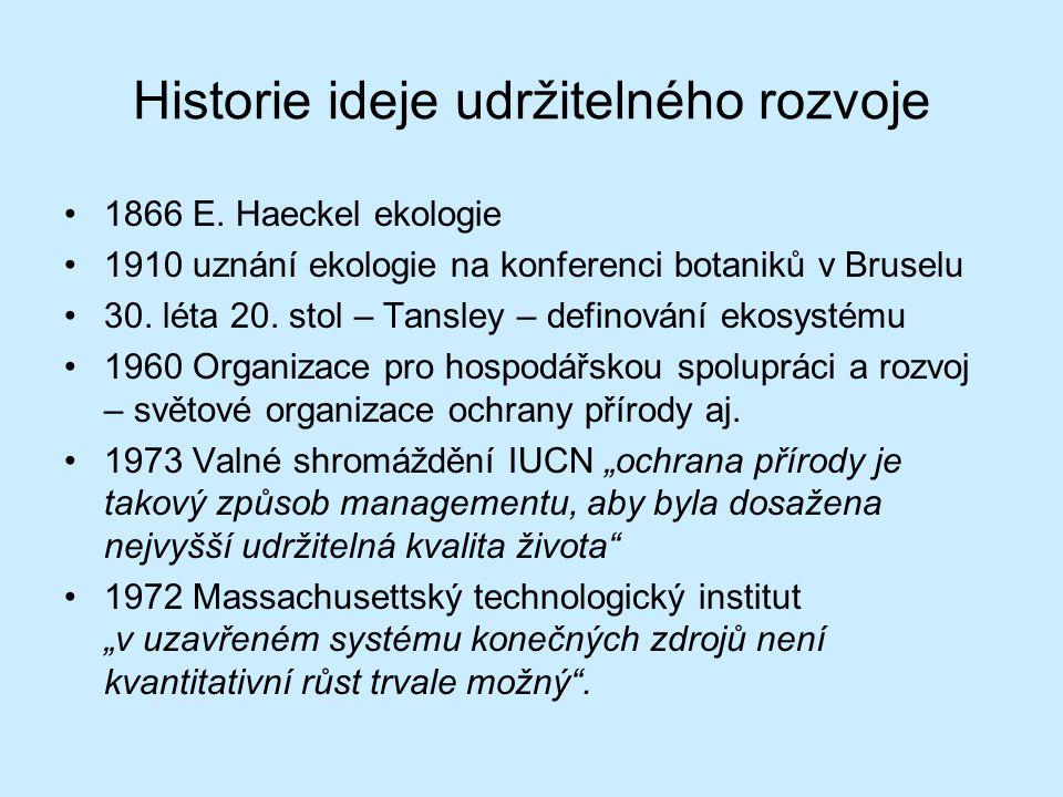 Historie ideje udržitelného rozvoje 1866 E. Haeckel ekologie 1910 uznání ekologie na konferenci botaniků v Bruselu 30. léta 20. stol – Tansley – defin