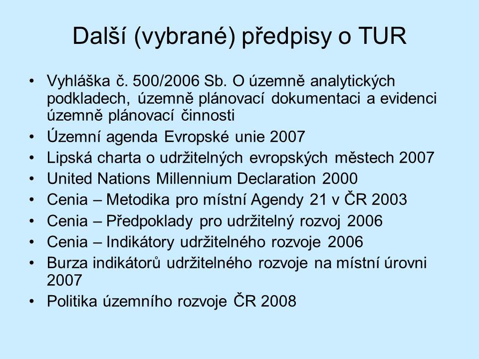 Další (vybrané) předpisy o TUR Vyhláška č. 500/2006 Sb. O územně analytických podkladech, územně plánovací dokumentaci a evidenci územně plánovací čin