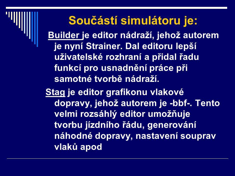 Součástí simulátoru je: Builder je editor nádraží, jehož autorem je nyní Strainer.
