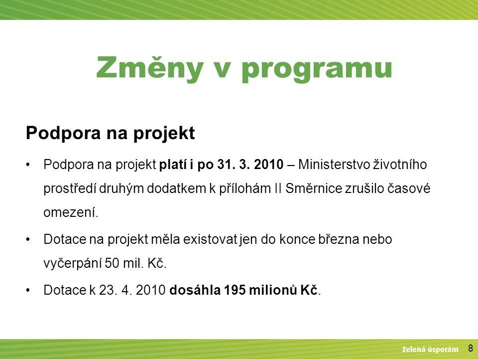 8 Změny v programu Podpora na projekt Podpora na projekt platí i po 31. 3. 2010 – Ministerstvo životního prostředí druhým dodatkem k přílohám II Směrn