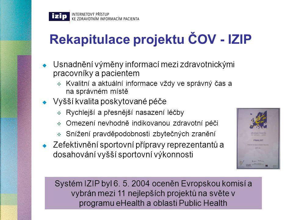Rekapitulace projektu ČOV - IZIP  Usnadnění výměny informací mezi zdravotnickými pracovníky a pacientem  Kvalitní a aktuální informace vždy ve správ