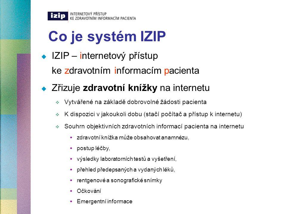 Co je systém IZIP  IZIP – internetový přístup ke zdravotním informacím pacienta  Zřizuje zdravotní knížky na internetu  Vytvářené na základě dobrov