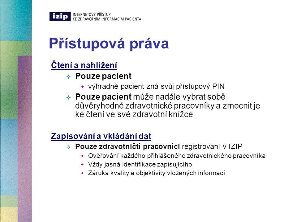 Přístupová práva Čtení a nahlížení  Pouze pacient  výhradně pacient zná svůj přístupový PIN  Pouze pacient může nadále vybrat sobě důvěryhodné zdra