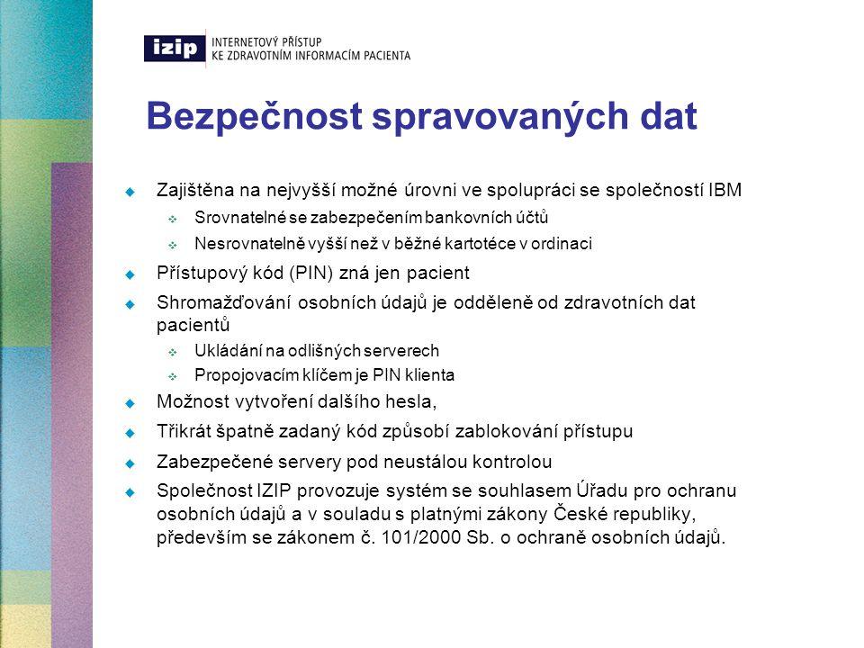 Bezpečnost spravovaných dat  Zajištěna na nejvyšší možné úrovni ve spolupráci se společností IBM  Srovnatelné se zabezpečením bankovních účtů  Nesr