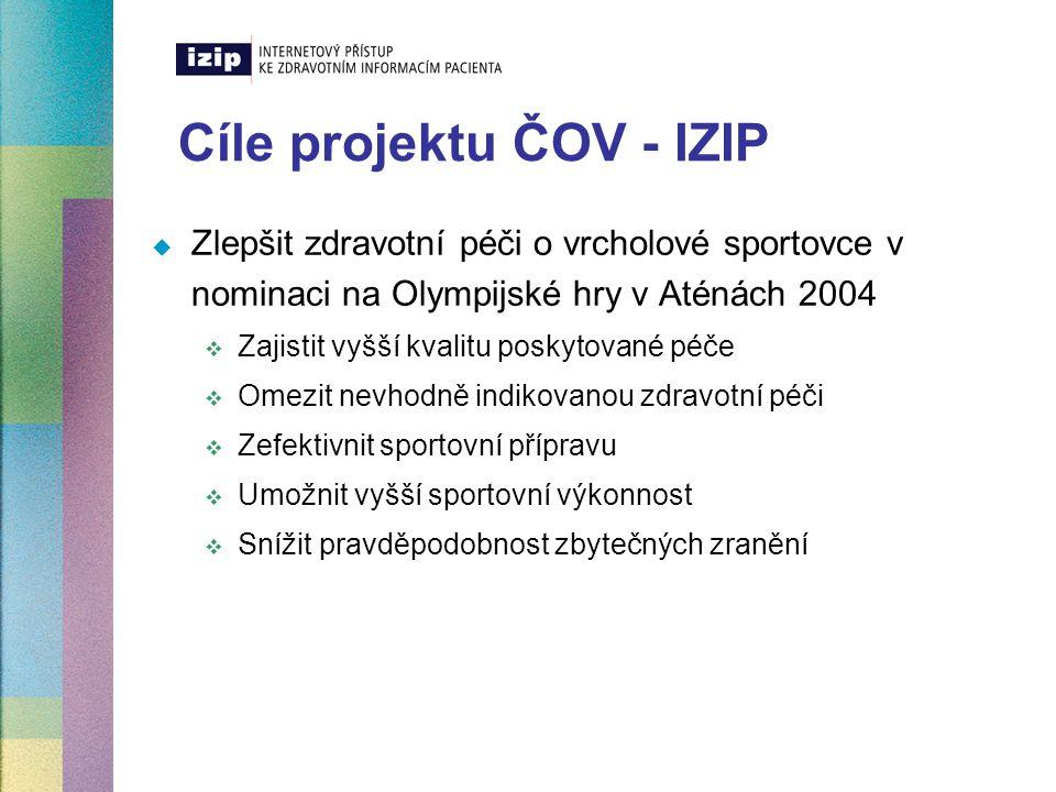 Cíle projektu ČOV - IZIP  Zlepšit zdravotní péči o vrcholové sportovce v nominaci na Olympijské hry v Aténách 2004  Zajistit vyšší kvalitu poskytova