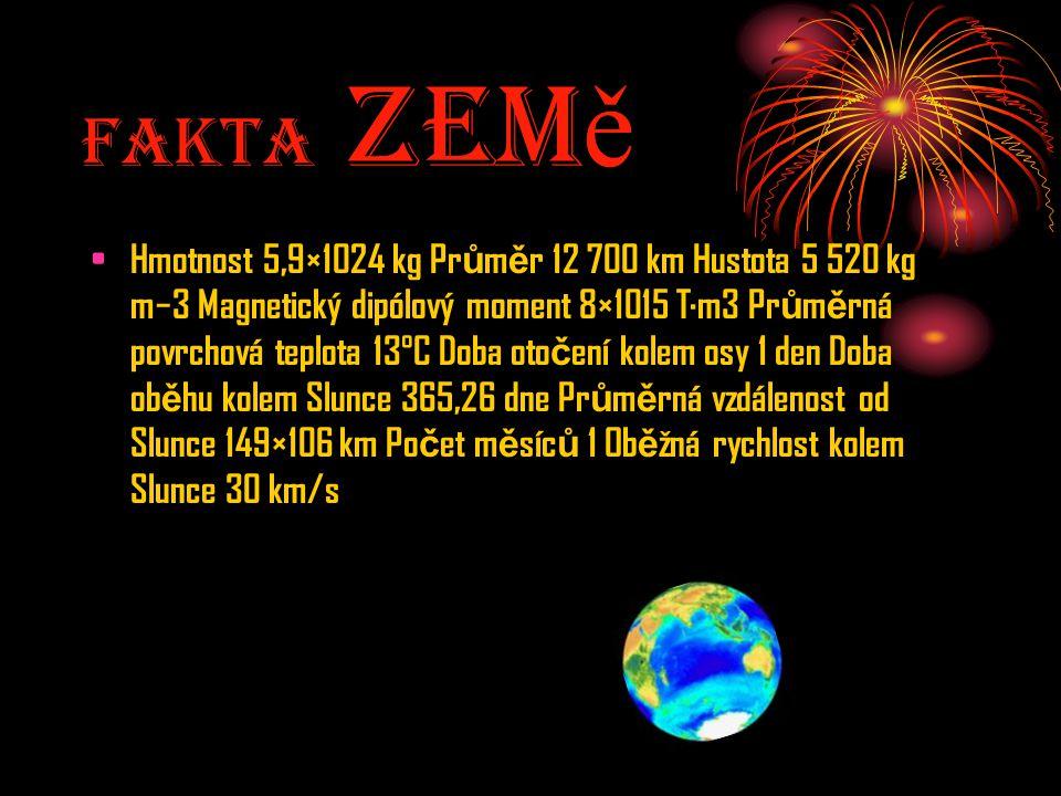 Fakta Zem ě Hmotnost 5,9×1024 kg Pr ů m ě r 12 700 km Hustota 5 520 kg m−3 Magnetický dipólový moment 8×1015 T·m3 Pr ů m ě rná povrchová teplota 13°C