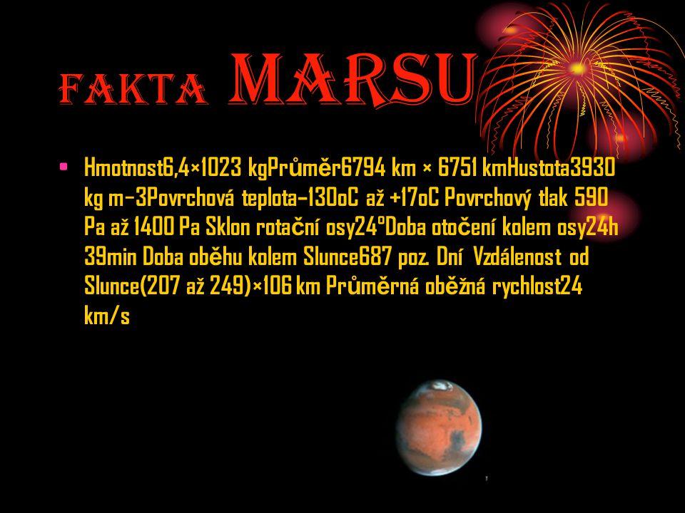 Fakta MarsU Hmotnost6,4×1023 kgPr ů m ě r6794 km × 6751 kmHustota3930 kg m−3Povrchová teplota–130oC až +17oC Povrchový tlak 590 Pa až 1400 Pa Sklon ro