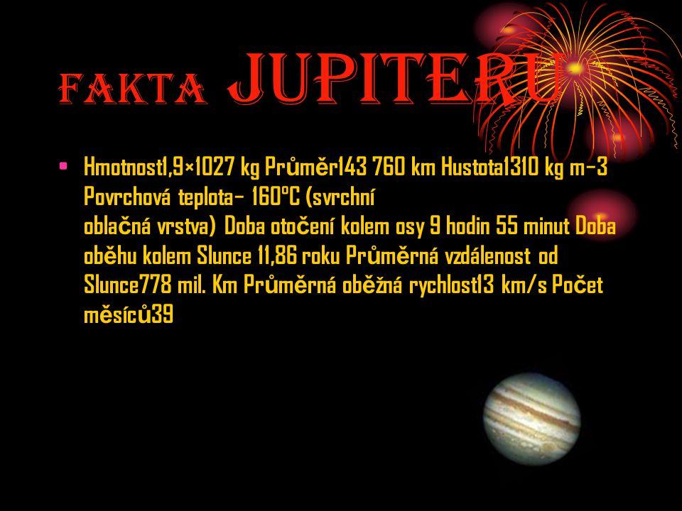 Fakta JupiterU Hmotnost1,9×1027 kg Pr ů m ě r143 760 km Hustota1310 kg m−3 Povrchová teplota− 160°C (svrchní obla č ná vrstva) Doba oto č ení kolem os