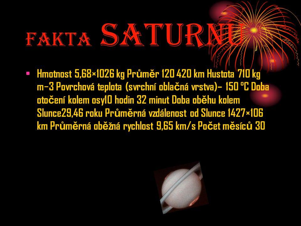 Fakta SaturnU Hmotnost 5,68×1026 kg Pr ů m ě r 120 420 km Hustota 710 kg m−3 Povrchová teplota (svrchní obla č ná vrstva)– 150 °C Doba oto č ení kolem