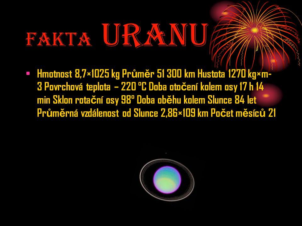 Fakta UranU Hmotnost 8,7×1025 kg Pr ů m ě r 51 300 km Hustota 1270 kg×m- 3 Povrchová teplota – 220 °C Doba oto č ení kolem osy 17 h 14 min Sklon rota
