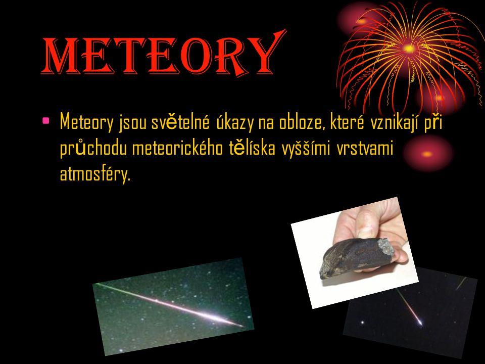 Meteory Meteory jsou sv ě telné úkazy na obloze, které vznikají p ř i pr ů chodu meteorického t ě líska vyššími vrstvami atmosféry.