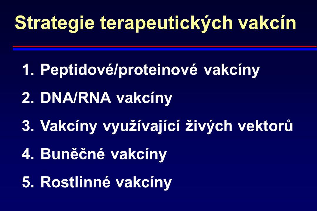 Strategie terapeutických vakcín 1. Peptidové/proteinové vakcíny 2. DNA/RNA vakcíny 3. Vakcíny využívající živých vektorů 4. Buněčné vakcíny 5. Rostlin