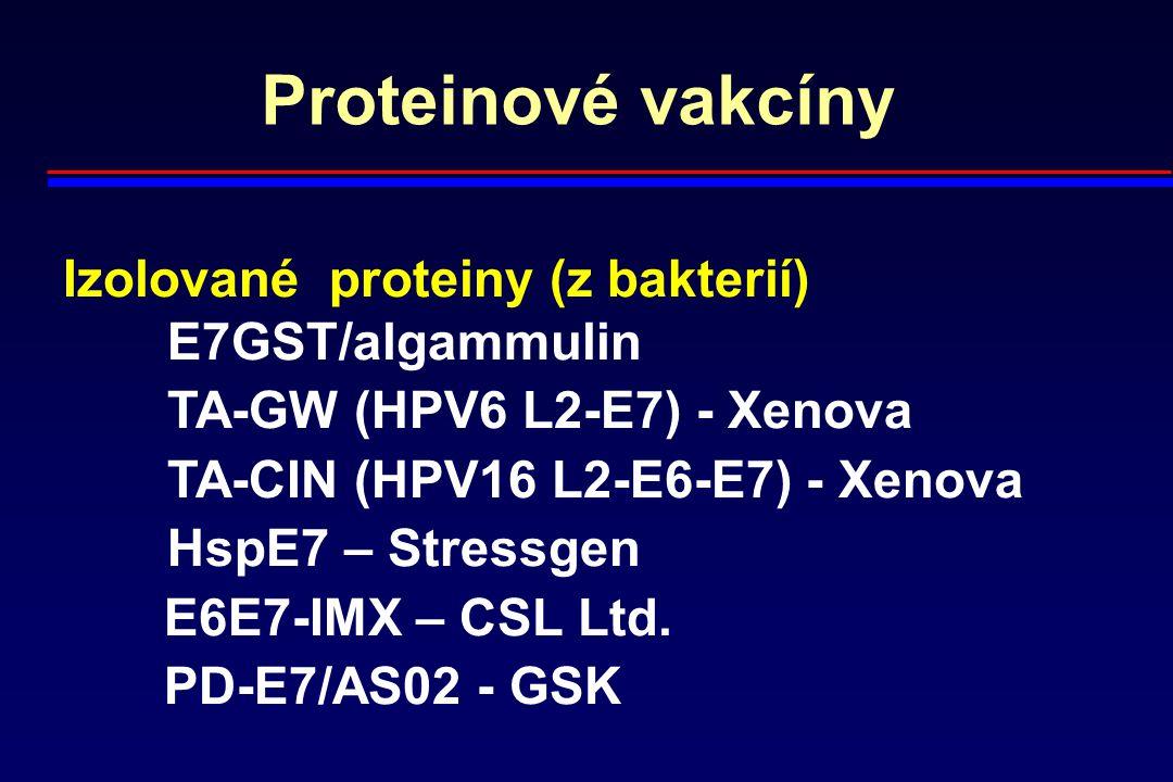Proteinové vakcíny Izolované proteiny (z bakterií) E7GST/algammulin TA-GW (HPV6 L2-E7) - Xenova TA-CIN (HPV16 L2-E6-E7) - Xenova HspE7 – Stressgen E6E