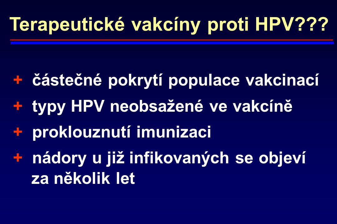 Terapeutické vakcíny proti HPV??? + částečné pokrytí populace vakcinací + typy HPV neobsažené ve vakcíně + proklouznutí imunizaci + nádory u již infik