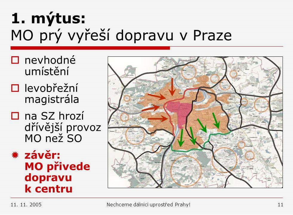11. 11. 2005Nechceme dálnici uprostřed Prahy!11 1. mýtus: MOprý vyřeší dopravu v Praze  nevhodné umístění  levobřežní magistrála  na SZ hrozí dřívě