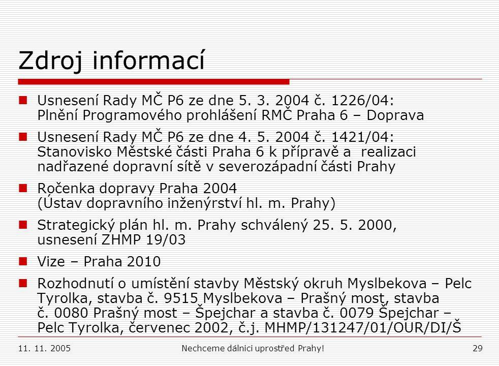11. 11. 2005Nechceme dálnici uprostřed Prahy!29 Zdroj informací Usnesení Rady MČ P6 ze dne 5. 3. 2004 č. 1226/04: Plnění Programového prohlášení RMČ P