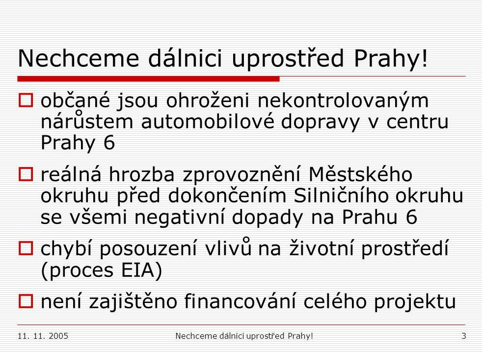 11. 11. 2005Nechceme dálnici uprostřed Prahy!3  občané jsou ohroženi nekontrolovaným nárůstem automobilové dopravy v centru Prahy 6  reálná hrozba z
