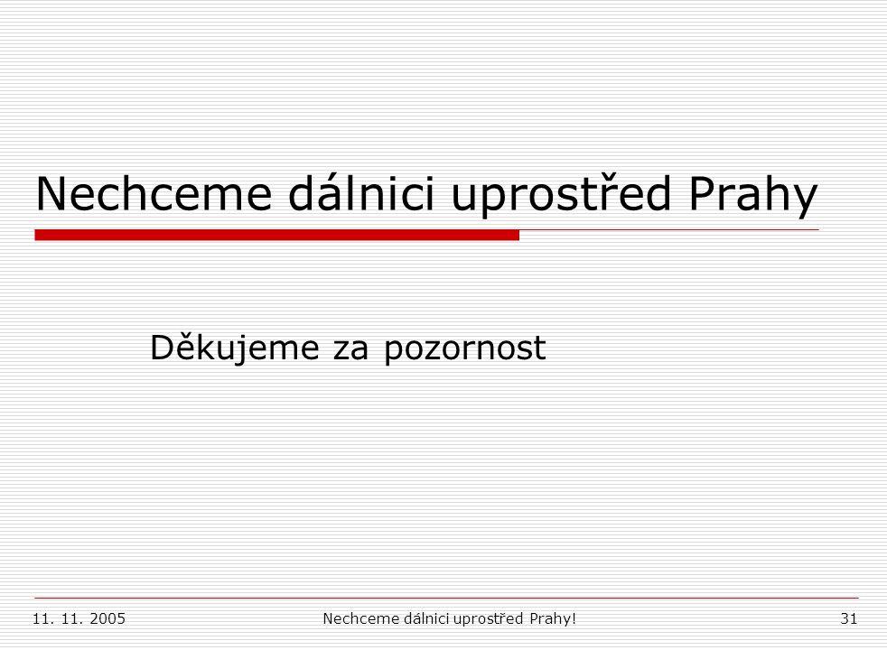 11. 11. 2005Nechceme dálnici uprostřed Prahy!31 Nechceme dálnici uprostřed Prahy Děkujeme za pozornost