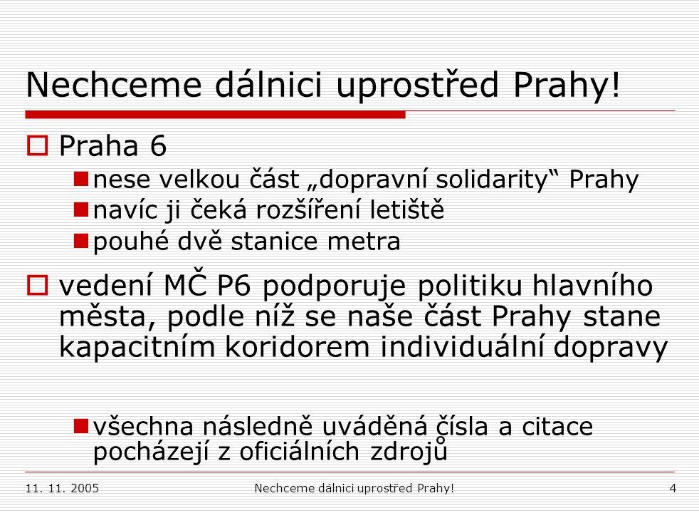 11.11. 2005Nechceme dálnici uprostřed Prahy!15 3.