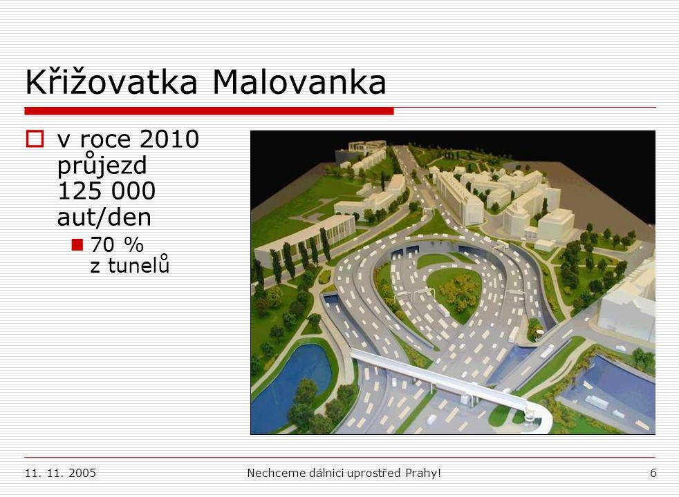 11. 11. 2005Nechceme dálnici uprostřed Prahy!6 Křižovatka Malovanka  v roce 2010 průjezd 125 000 aut/den 70 % z tunelů