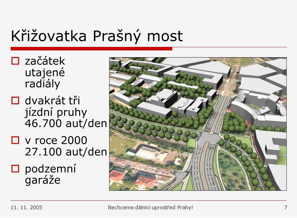 11. 11. 2005Nechceme dálnici uprostřed Prahy!7 Křižovatka Prašný most  začátek utajené radiály  dvakrát tři jízdní pruhy 46.700 aut/den  v roce 200