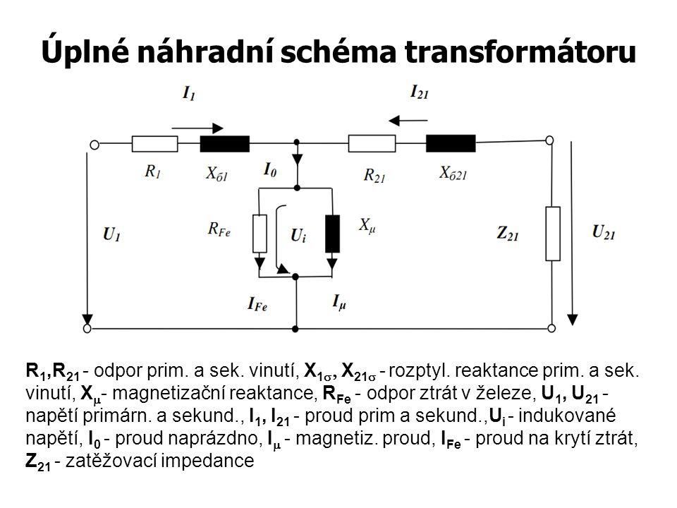 Úplné náhradní schéma transformátoru R 1,R 21 - odpor prim. a sek. vinutí, X 1   X 21  -  rozptyl. reaktance prim. a sek. vinutí, X  - magnetiz