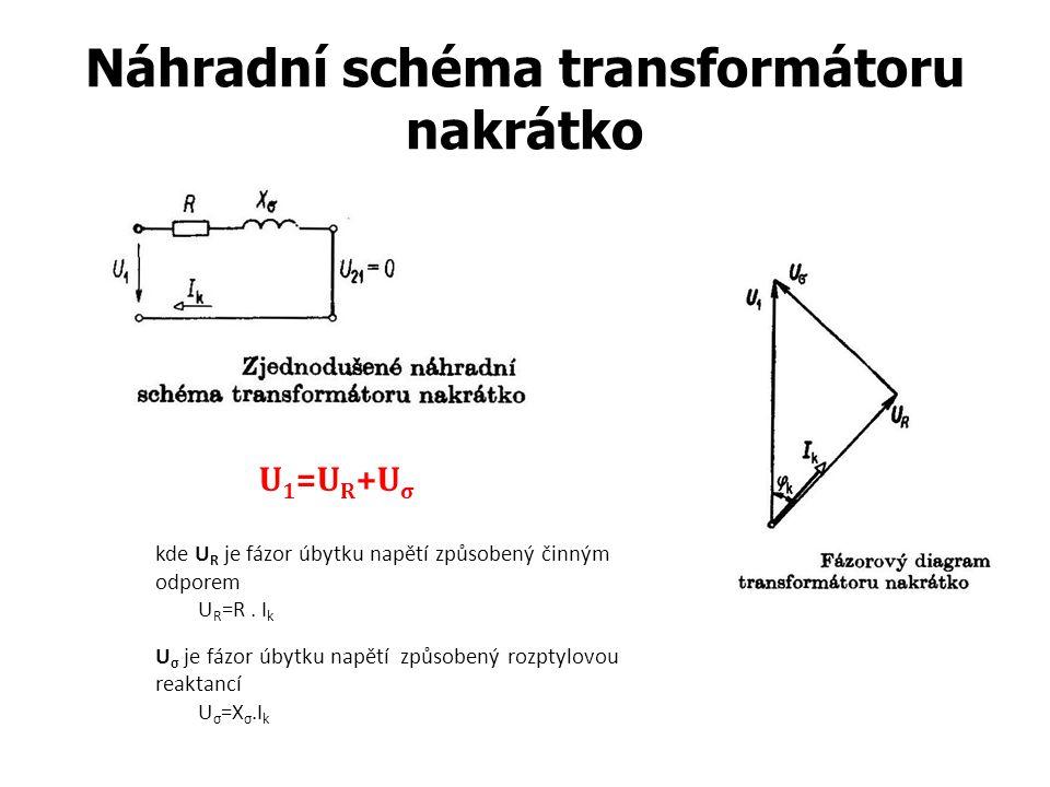Náhradní schéma transformátoru nakrátko kde U R je fázor úbytku napětí způsobený činným odporem U R =R. I k U σ je fázor úbytku napětí způsobený rozpt