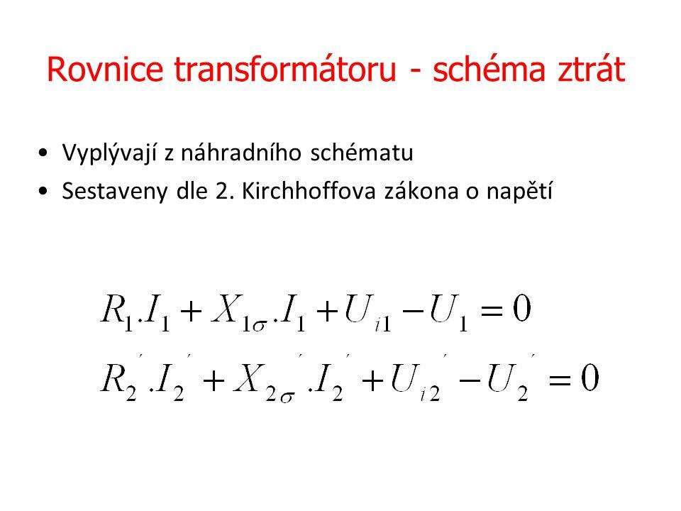 Rovnice transformátoru - schéma ztrát Vyplývají z náhradního schématu Sestaveny dle 2. Kirchhoffova zákona o napětí
