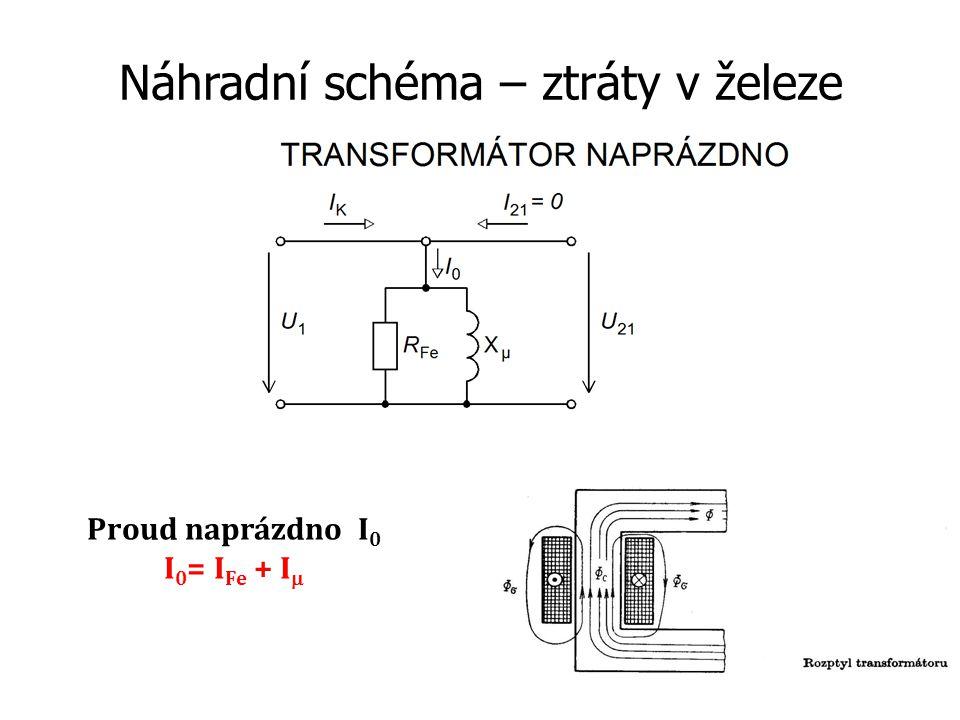 Proudové rovnice transformátoru Vyplývají z náhradního schématu Sestaveny dle 1.Kirchhoffova zákona o proudech
