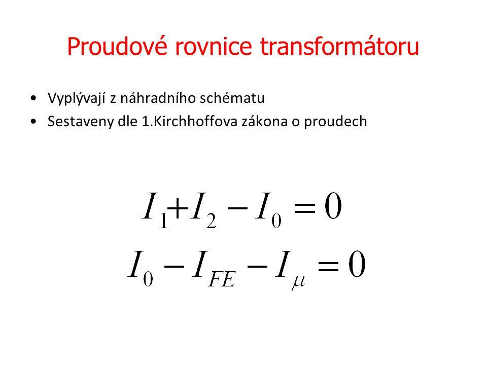 Fázorový diagram transformátoru Přepočítací vztahy: U 2 ´= U 21 = p.U 2 (jiné značení) I 2 ´= I 21 = I 2 / p R 2 ´= R 21 = p 2.