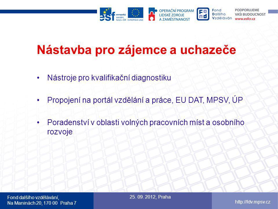 Fond dalšího vzdělávání, Na Maninách 20, 170 00 Praha 7 http://fdv.mpsv.cz Nástavba pro zájemce a uchazeče Nástroje pro kvalifikační diagnostiku Propojení na portál vzdělání a práce, EU DAT, MPSV, ÚP Poradenství v oblasti volných pracovních míst a osobního rozvoje 25.