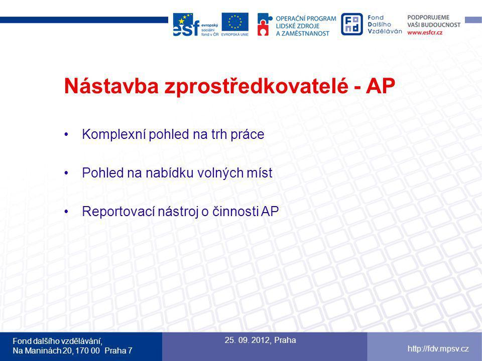 Fond dalšího vzdělávání, Na Maninách 20, 170 00 Praha 7 http://fdv.mpsv.cz Nástavba zprostředkovatelé - AP Komplexní pohled na trh práce Pohled na nabídku volných míst Reportovací nástroj o činnosti AP 25.