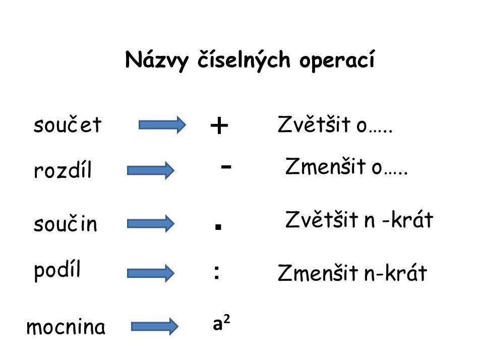Názvy číselných operací + součetZvětšit o….. rozdíl součin podíl mocnina - Zmenšit o…..