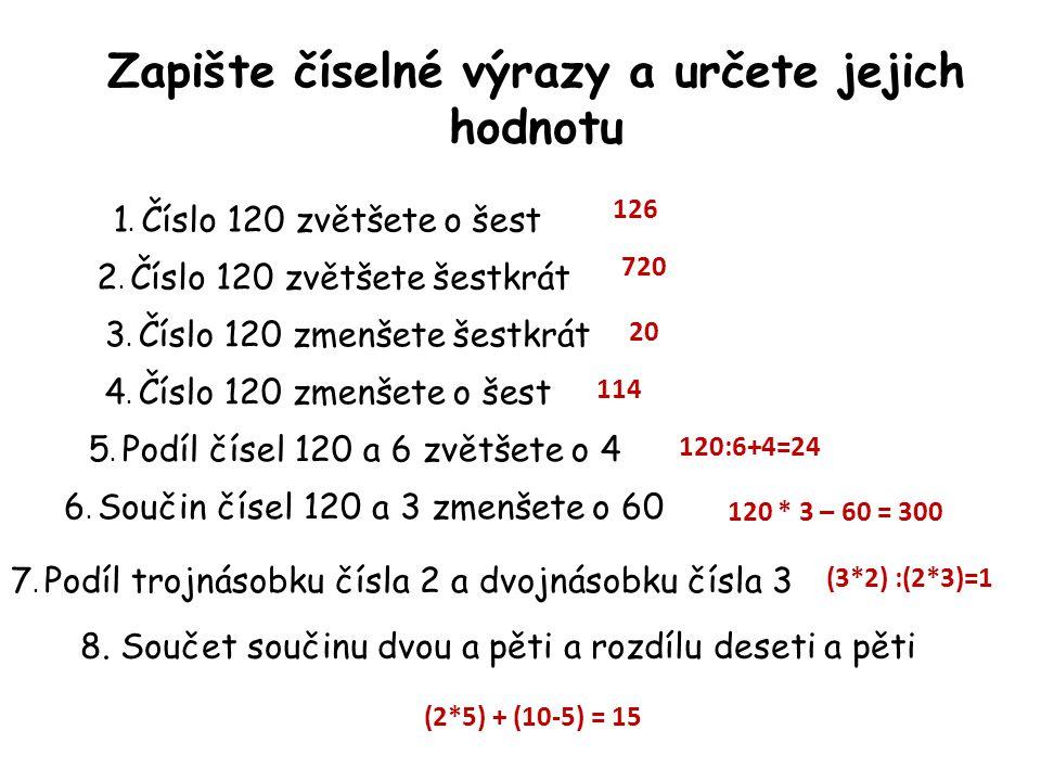 Zapište číselné výrazy a určete jejich hodnotu – samostatná práce Polovina čísla 12 Součet podílu čísel 12 a 6 a rozdílu čísel 12 a 6 Podíl součtu čísel 12 a 6 a čísla 3 Rozdíl čísel 25 a 10.