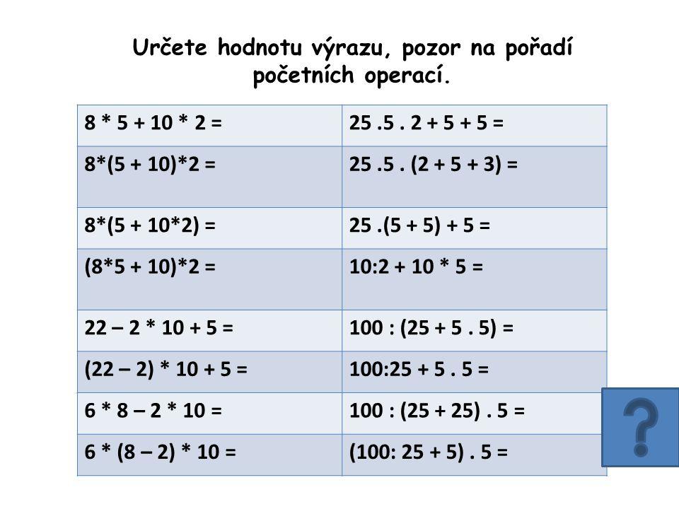 Určete hodnotu výrazu, pozor na pořadí početních operací.