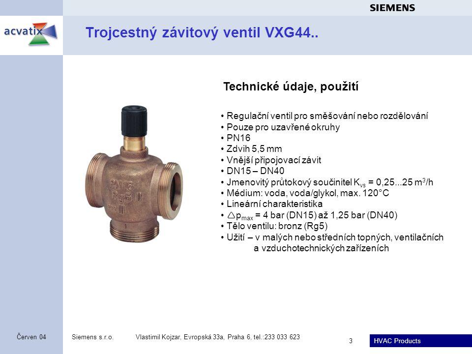 HVAC Products Siemens s.r.o.Vlastimil Kojzar, Evropská 33a, Praha 6, tel.:233 033 623 4 Červen 04 Přímý závitový ventil VVG55...