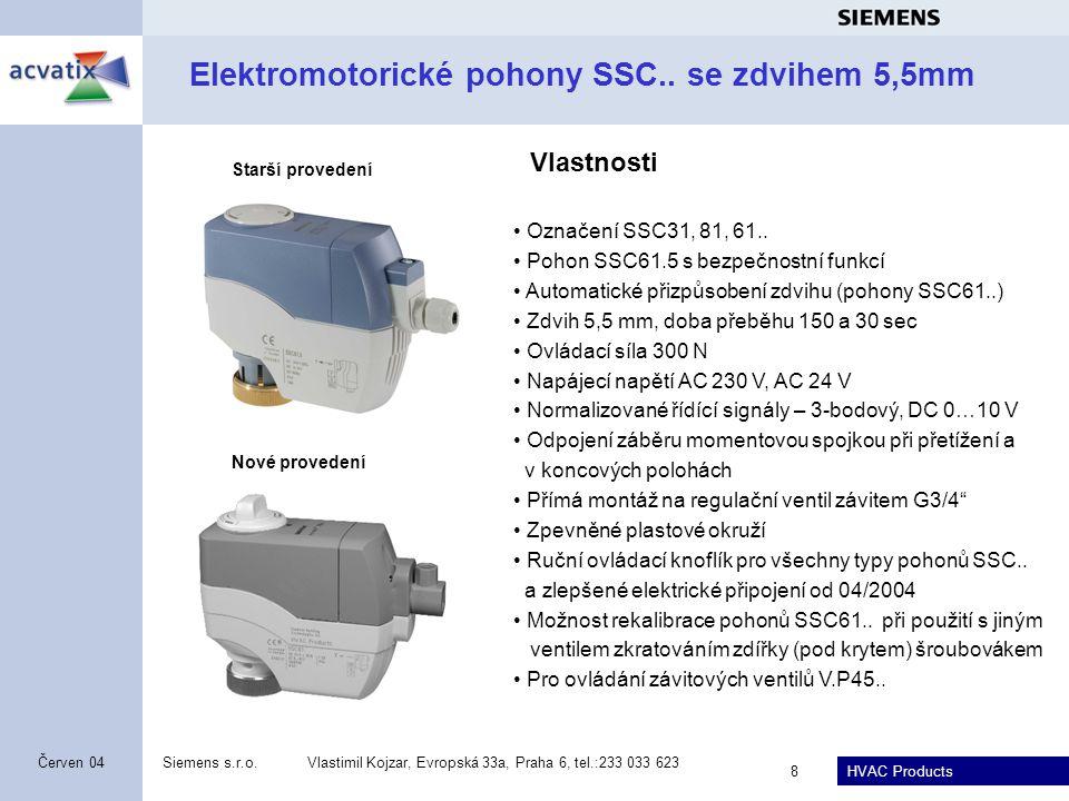 HVAC Products Siemens s.r.o.Vlastimil Kojzar, Evropská 33a, Praha 6, tel.:233 033 623 8 Červen 04 Elektromotorické pohony SSC..