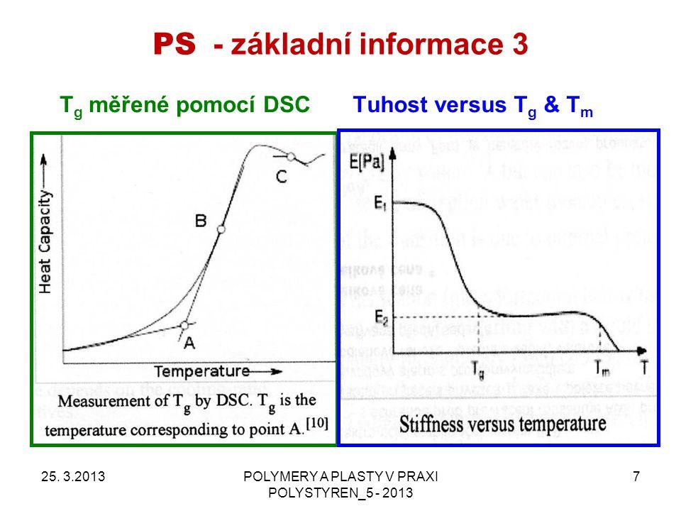 PS - základní informace 3 25. 3.2013POLYMERY A PLASTY V PRAXI POLYSTYREN_5 - 2013 7 Tuhost versus T g & T m T g měřené pomocí DSC