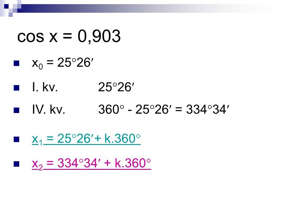 cos x = 0,903 x 0 = 25  26 I. kv. 25  26 IV. kv.