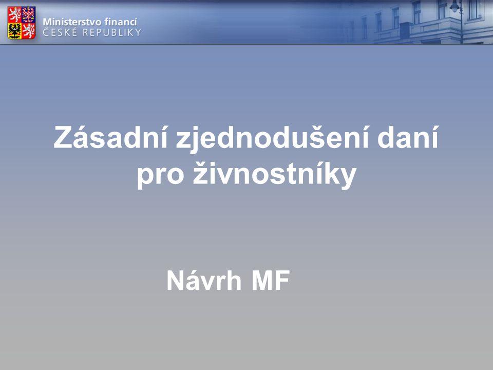 Zásadní zjednodušení daní pro živnostníky Návrh MF