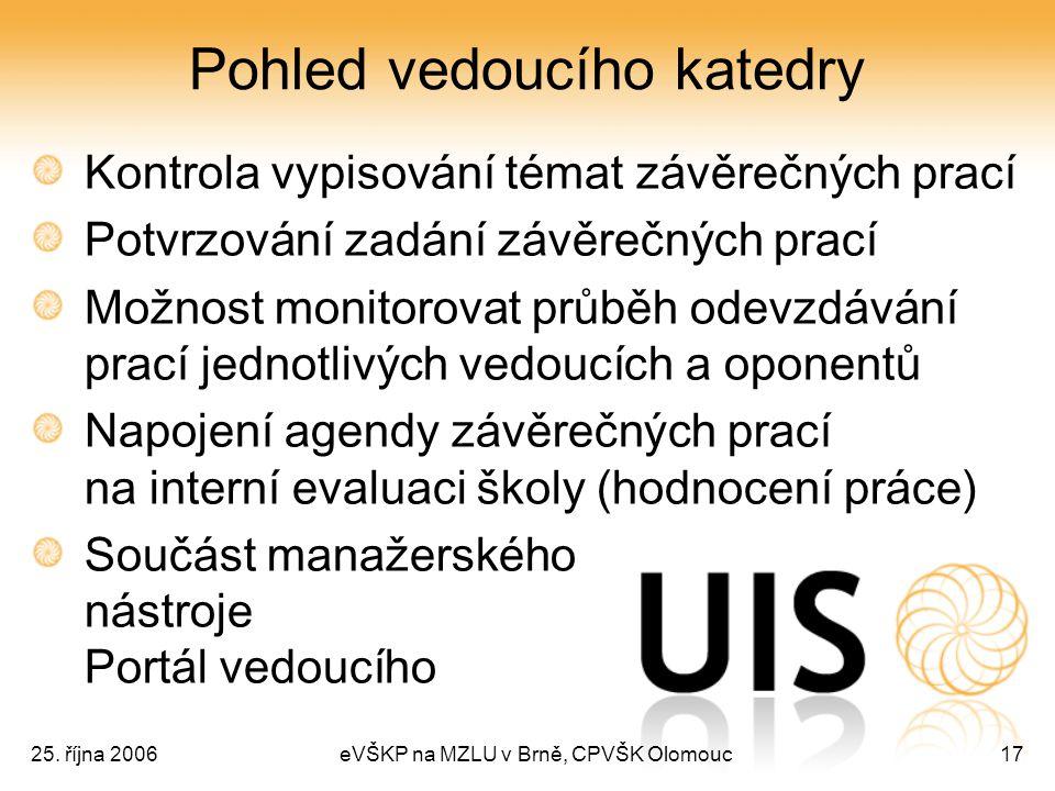 25. října 2006eVŠKP na MZLU v Brně, CPVŠK Olomouc17 Pohled vedoucího katedry Kontrola vypisování témat závěrečných prací Potvrzování zadání závěrečnýc